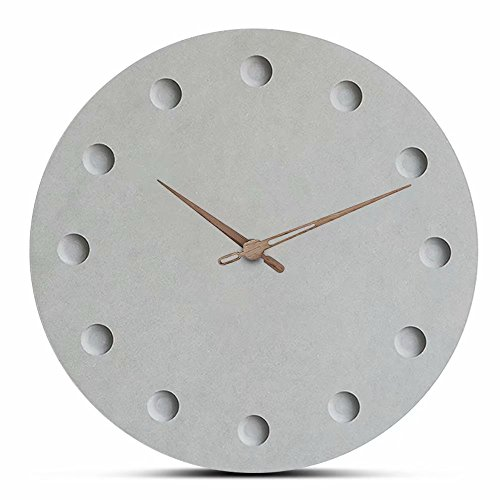 FlorLife Large Decorative Kitchen Wall Clocks No Numbers - 12 Inch Non Ticking Silent Quartz Round Wooden Hanging Clock- Battery Operated - Grey Face Easy to Read by FlorLife