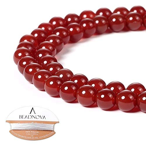 BEADNOVA Red Agate Beads Natural Crystal Beads Stone Gemstone Round Loose Energy Healing Beads with Free Crystal Stretch Cord for Jewelry Making (6mm, 63-65pcs)