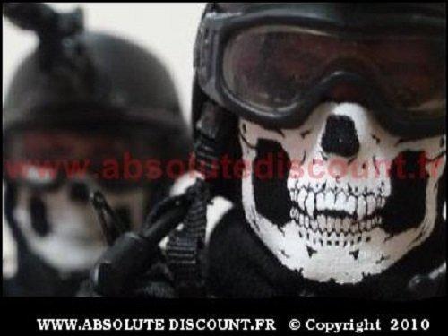 Totenkopf Multifunktionstuch Polar mit Fleece | Skull Motiv | Schlauchtuch | Halswä rmer | schwarz | Halstuch mit Totenkopf- Skelettmasken fü r Motorrad Fahrrad Ski Paintball Gamer Skull Mask GEAR FASHION AND PROTECTION ®