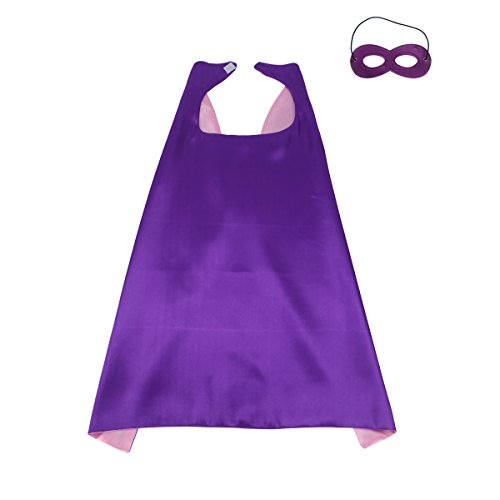 Capes For Children (70cmX70cm Special Polyester Boys&Girls Cape+Mask Any Color Double-sided (Purple-pink))