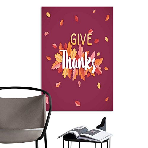 UHOO Arts PaintingHappy Thanksgiving Holiday Typography Poster Celebration Text with Autumn Leaves Background for Postcard Template Cover Banner in Vector6.jpg Artwork for Gift for Home Decor 20