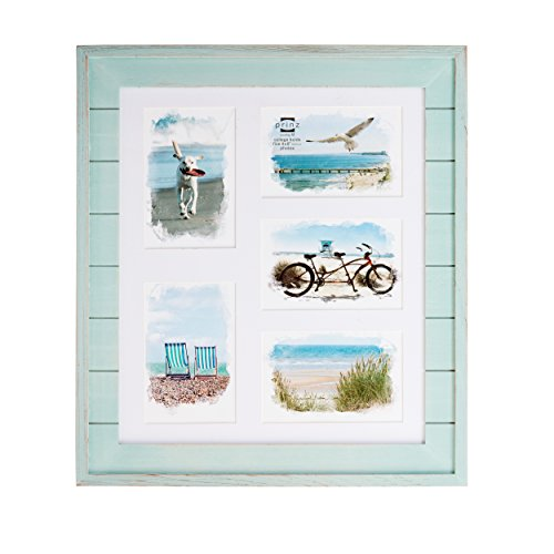 PRINZ 5 Opening Seaside Wood Plank Collage Frame, 4 x 6, Aqua