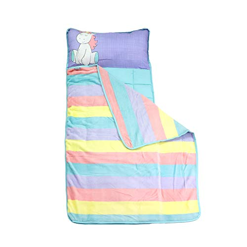 - Toddler Nap Mats for Preschool Kinder Daycare – Blanket + Pillow for Boys or Girls – Foldable Comfy Cover (Unicorn)