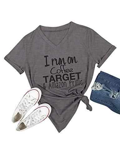 Nlife Women I Run On Coffee Target T-Shirt V Neck Solid Color Casual Tops