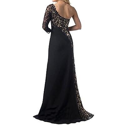 Sue&Joe Women's Prom Gowns One Shoulder Lace Long Sleeve Mermaid Slit Maxi Dress