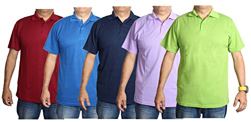 Gilbins Mens Color Classic Cotton Blend Short Sleeve Polo Shirts 5 Pack