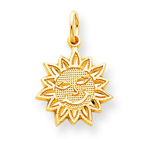 Gold Smiling Sun Charm - 10K Yellow Gold Smiling Sun Charm Jewelry FindingKing