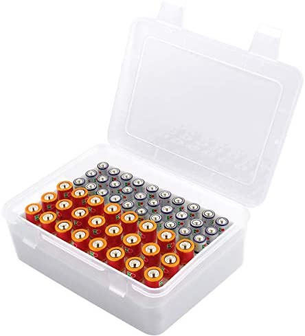 Battery Organizer Storage Box, Garage Case Holder for 24 AA, 30 AAA Batteries (Bag Not Include Batteries Pack)