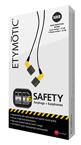 Etymotic HD5 Safety Headset and Earphones - Industrial Hearing Protection, Safe Listening Earphones, Yellow by Etymotic Research (Image #3)