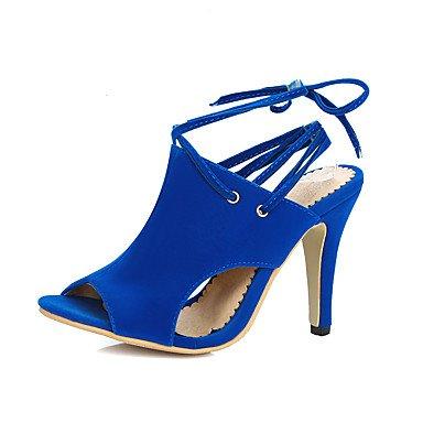 red Da Sandali ligaosheng Nero Microfibra alla caviglia donna Cinturino Rosso Blu Quadrato Casual 7UqE6q
