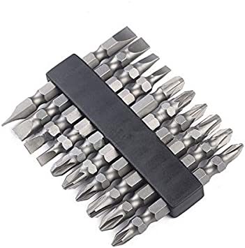 LONKER 10pcs 1//4 Inch Hex Shank Long Magnetic Screwdriver Bits Set 4 Inch Power Tools Slotted+Cross