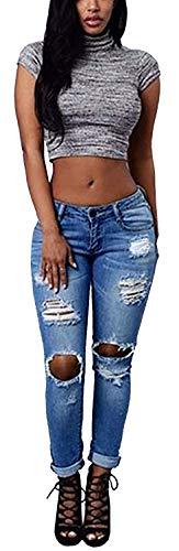 Marca Bolawoo Mezclilla Blau Elástica Elástico De Agujero Mujer Algodón Mode Delgado Elásticos Pantalones Cintura Mendigo 1 Vaqueros qqxpwrvH4
