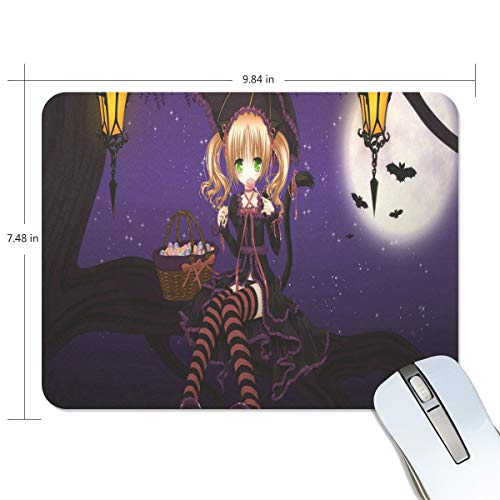 Funny Mouse Pad Personalized Special Halloween Anime Wallpaper Rectangle Shape for Office Computer Work (9.84 x 7.48 inch)