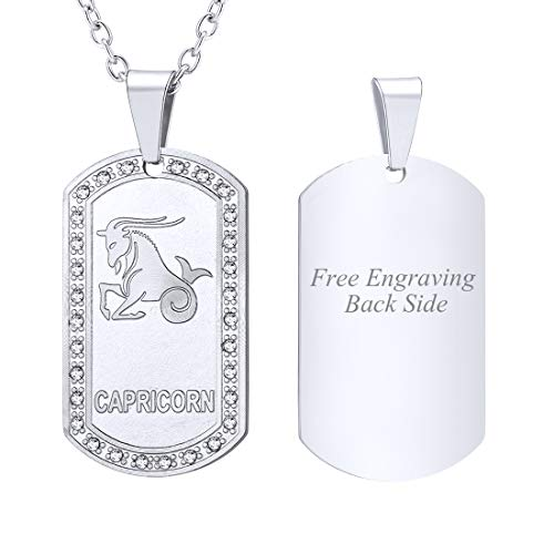 U7 Customized Necklace Men Birthday Gift Stainless Steel Rhinestone Inlaid Constellation Zodiac Sign Dog Tags Pendant, Back Side Engravable Personalized Jewelry (Capricorn)