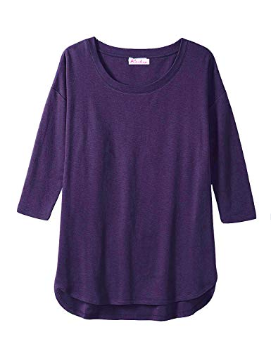 Women's Cotton and Modal 3/4-Sleeve Scoop Neck Tunic Tops with Cut Hem (L,