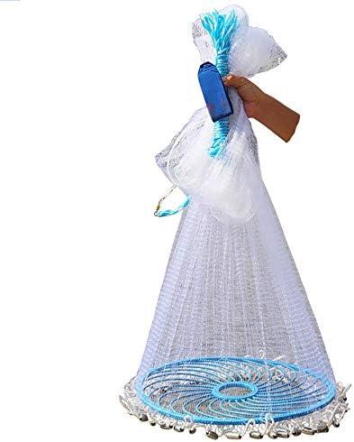 釣りネット、折りたたみフリスビー手投げネット、ポータブルイカ網水中キャスティングネットトラップ、1本指、自動釣り道具 (Size : 1.5m)