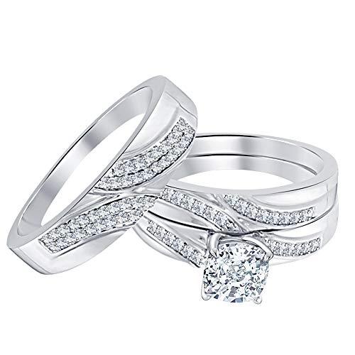RUDRAFASHION 1.20Ctw Cushion Cut White CZ Diamond 14k White Gold Plated Engagement Wedding Bridal Ring Set for Men's & Women's