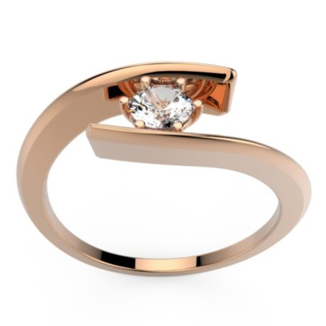 HABY Bagues Or Rose 18 carats Saphir Blanc 0,6 Rond