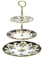 Royal Albert 100 Years 3 Tier Cakestand English Chintz Regency and Duchess, Bone China, Multi-Colour, 27.7 x 27.5 x 6 cm