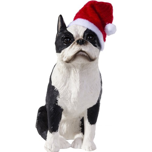 Boston Christmas Terrier Ornament - Sandicast Boston Terrier with Santa Hat Christmas Ornament