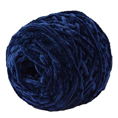 (Navy Blue Chunky Knit Yarn,Chenille Velvet Yarn,100% Polyester Chunky Chenille Yarn,Arm Knit,Hand Knitting,Giant Bulky Knit,DIY Knit Yarn,100g/0.22lb)