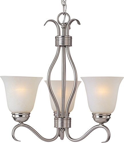 Maxim 10123ICSN Basix 3-Light Chandelier Single-Tier Chandelier, Satin Nickel Finish, Ice Glass, MB Incandescent Incandescent Bulb , 60W Max., Dry Safety Rating, Standard Dimmable, Metal Shade Material, Rated Lumens ()