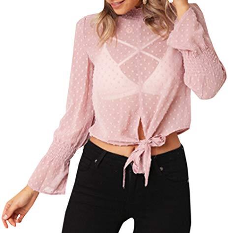 Rose Blouse Shirts Chemisiers Casual avec Flare Sleeve Court Bandage Printemps Hauts Mode Imprime Chemises Automne Tops Femmes vg6nwxaq