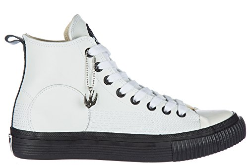 McQ Alexander McQueen Men's Shoes High Top Leather Trainers Sneakers White US Size 10 472454 R1129 9000 (Alexander Mcqueen Men Sneakers)