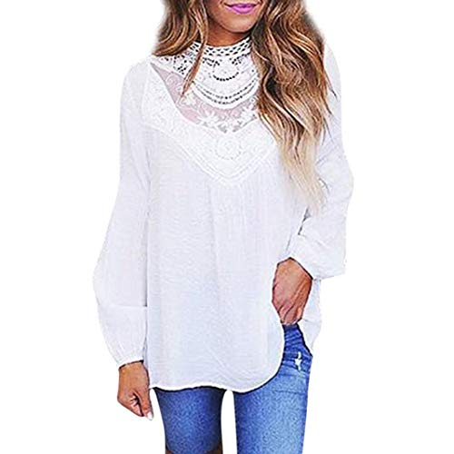 Plus Size Blouse,Toimoth Sexy Women Ladies Casual Lace O Neck T-Shirt Long Sleeve Tops Blouse (White,S) ()