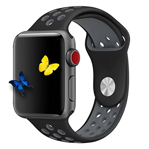 Yunsea Soft Sport Durable Silicone Double Color Black Coolgray Band with Midnightblue Solid Color Silicone Wirst Replacement Strap Band for Apple Watch Series 1 / 2 / 3,42mm,M/L ; 38mm,S/M