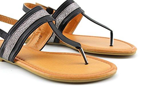 Modelisa - Sandalia Plana Detalle Tiras Mujer Negro