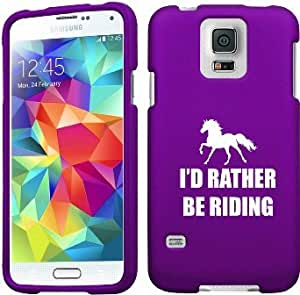Samsung Galaxy S5 Active G870 Snap On 2 Piece Rubber Hard Case Cover I'd Rather Be Riding Horse (Purple)