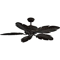 "Ellington PAP52ABZ5RCDI, Pineapple 52"" Five Blade Aged Bronze Outdoor Ceiling Fan with Remote"