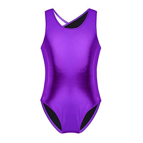 ranrann Girls Glittery Metallic Open Back with Straps Ballet Dance Gymnastic Leotard Jumpsuit Purple 5-6