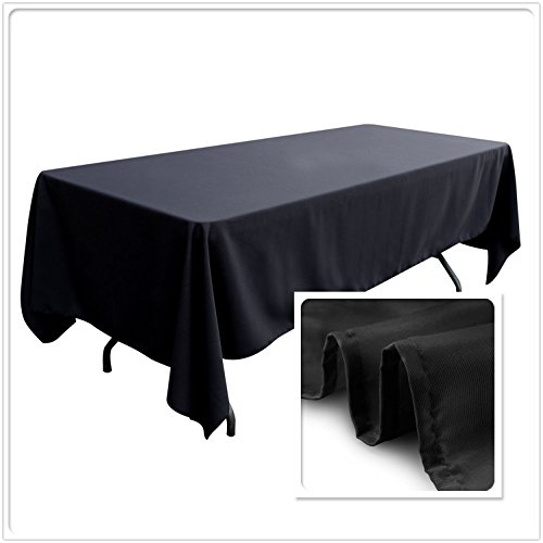 Cloths Banquet (TRLYC Rectangular Wedding Linen tablecloth 60x102-Inch Black Banquet Polyester Cloth, Wrinkle Resistant Quality Tablecloth for Special Events Or Party)