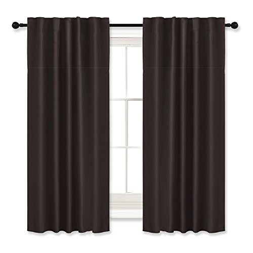 Lodge Pocket Drapes Rod (Curtains Blackout Panels Thermal Insulated - RYB HOME ( 42 Width by 54 Length, Brown, Set of 2 ) Curtains and Draperies Noise Reducing Energy Saving Window Treatments Drapes)