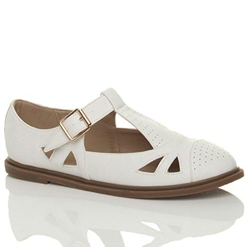 new Ajvani Women's Flat T Bar Brogue Shoes Size