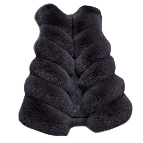iYYVV Womens Ladies Sleeveless Jacket Fur Waistcoat Solid Winter Warm Loose Vest Coat Black