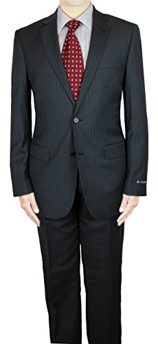 NAAMS Men Wool 2 Button 2 Vent Suit Slim Jacket Flat Front Pant 42L Grey (Grey Stripe Wool Suit)