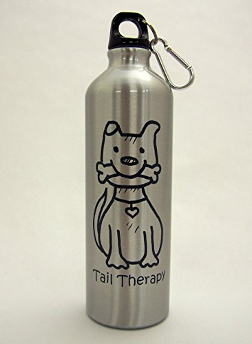 Tail Therapy Dog 24-Ounce Aluminum Water Bottle — Carabiner Clip included, screw top, great for hiking, camping, on the go, anywhere