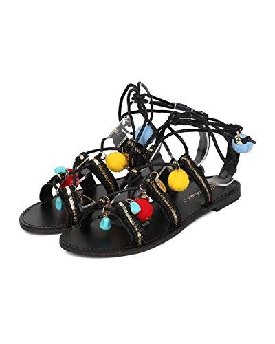 Breckelles Kvinnor Tribal Gladiator Sandal - Dinglande Berlocker Sandal - Pom Pom Sandal - Hk36 Av Svart Mediemixen