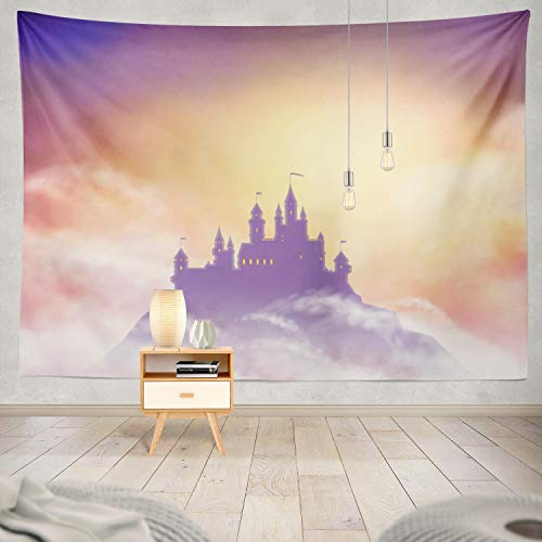 threetothree Tapestry Castle Silhouette Hill Sun Castle Fantasy Magic Ancient Architecture Artistic Building Hanging Tapestries 50 x 60 inch Wall Hanging Decor for Bedroom Livingroom Dorm