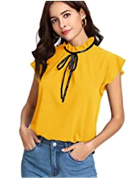 Romwe Mujeres Casual Capsleeve Bow Tie Blusa Parte Superior Camisas