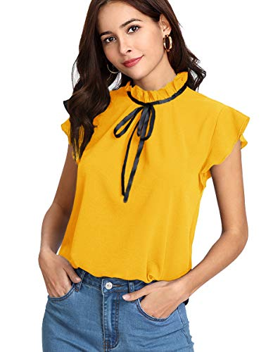 Romwe Women's Casual Cap Sleeve Bow Tie Blouse Top Shirts Yellow S ()