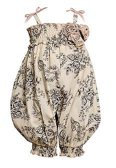 Bonnie Jean Baby/NEWBORN 3M-9M IVORY BLACK FLORAL TOILE PRINT SMOCKED ROMPER Girl Spring Summer Party Outfit