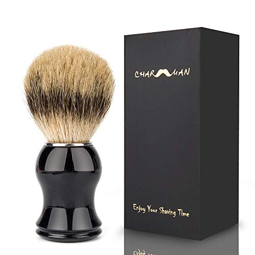 CHARMMAN Best Grade Badger Bristle Shaving Cream & Soap Brush, Black Resin Handle