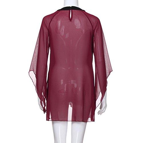 Camicia Bekleidung Donna Rot Unita Tinta A Bottoni Con Tonda Sanfashion Punta qPxp57a7w