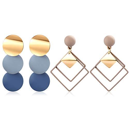 CHANBO 2 Pairs Korean Dangle Geometric Earrings Popular Korean Blue Acrylic Crystal Earrings Bohemian Long Silk Tassel Pendant Earrings Women 2021 Fashion Jewelry
