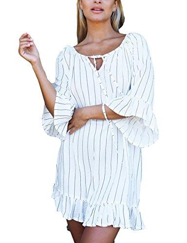 Bsubseach Women Black White Striped Bathing Suit Cover Ups Swimwear 3/4 Flare Sleeve Swimsuit Beach Short Dress