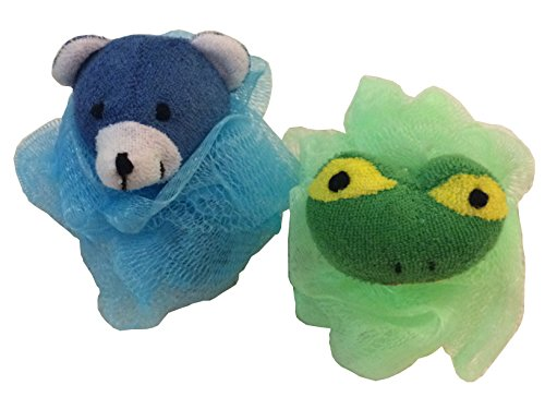 Toy Loofa - 2-Pack of Boys Kids Childrens Stuffed Animal Toy Pouf Mesh Bath Shower Sponge Green Frog Blue Bear